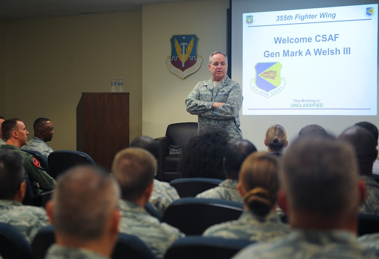Air Force Chief of Staff Gen. Mark A. Welsh III spoke to Airmen of the 354th Fighter Squadron during a visit at Davis-Monthan Air Force Base, Ariz., March 25, 2015. Welsh thanked Airmen for their continued service and dedication, and addressed issues concerning Airmen and their families. (U.S. Air Force photo by Cheyenne Morigeau/released)