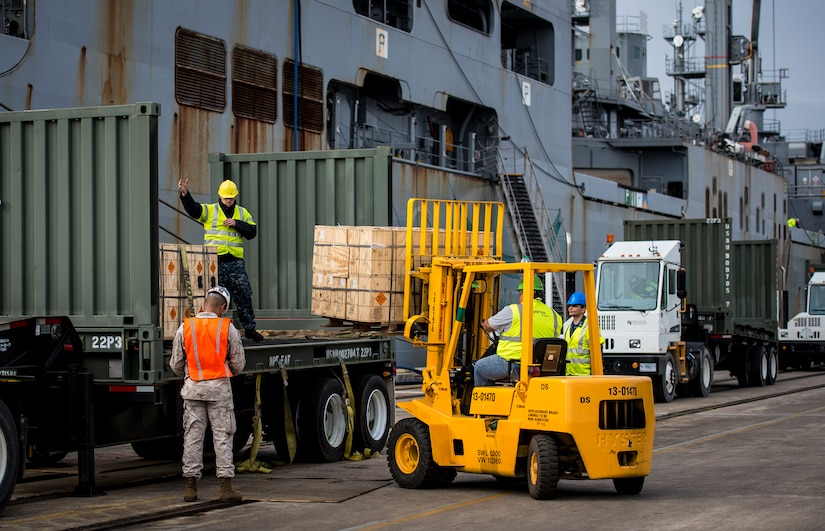 Sailors and Marines with the Navy Munitions Command Unit Charleston load cargo from the USNS Lewis and Clark (T-AKE-1) onto a transport vehicle March, 25, 2015, at Naval Weapons Station Wharf Alpha in Charleston, S.C. The Lewis and Clark is a replenishment naval vessel. In 2012, USNS Lewis and Clark became one of 14 ships that comprise the United States Marine Corps Maritime Prepositioning Program. Prepositioning ships provide quick and efficient movement of military equipment/supplies between operating areas without reliance on other nations' transportation networks. These ships give U.S. regional combatant commanders the assurance that they will have what they need to quickly respond in a crisis - anywhere, anytime. (U.S. Air Force photo/Airman 1st Class Clayton Cupit)