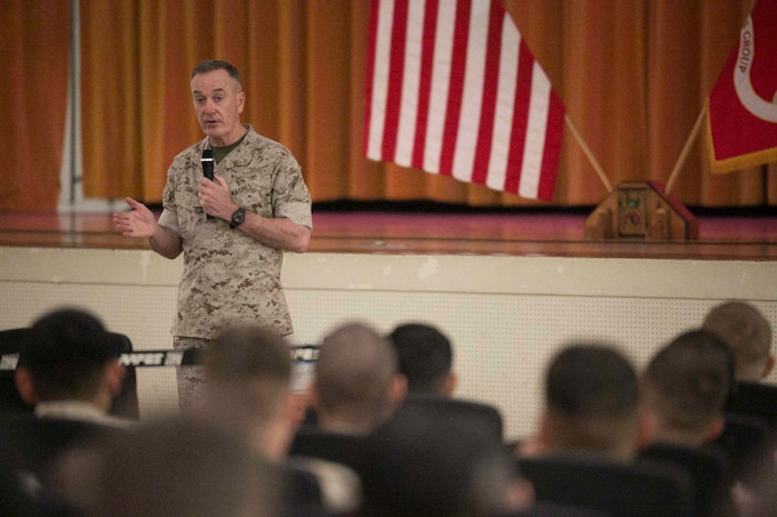 """Gen. Joseph Dunford, the Commandant of the Marine Corps, speaks with Marines on Camp Hansen, Okinawa, March 26. Dunford traveled to the Marine bases on Okinawa from March 24 to the 26 to talk with Marines about his expectations for the Marines and the Corps. """"My priorities are to make sure we have the warfighting capabilities we need, to address the maturity of our leaders and to make sure they have the training, education and the experience that they need to be successful on the battlefield,"""" said Dunford."""