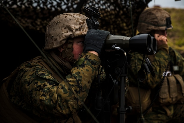 Cpl. Devin S. Stevens spots a target for artillery to provide suppressing fire for notional mechanized infantry March 9 during Dragon Fire Exercise 15-2 at Pohakuloa Training Area, Hawaii. DFX 15-2 is an exercise designed to increase combat readiness for all elements of an artillery force while incorporating air support. Stevens, a Roanoke, Virginia, native, is a radio operator with the liaison section 3rd Battalion, 12th Marine Regiment, 3rd Marine Division, III Marine Expeditionary Force, attached to 1st Battalion, 12th Marines for DFX 15-2.