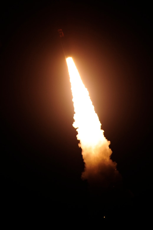 An unarmed Minuteman III intercontinental ballistic missile (ICBM) launches at 3:53 a.m. Pacific Daylight Time, March 27, 2015, at Vandenberg Air Force Base, Calif. Air Force Global Strike Command demonstrated the capabilities of their ICBM fleet and crew force with two test launches in less than a week. (U.S. Air Force photo/Staff Sgt. Jim Araos)