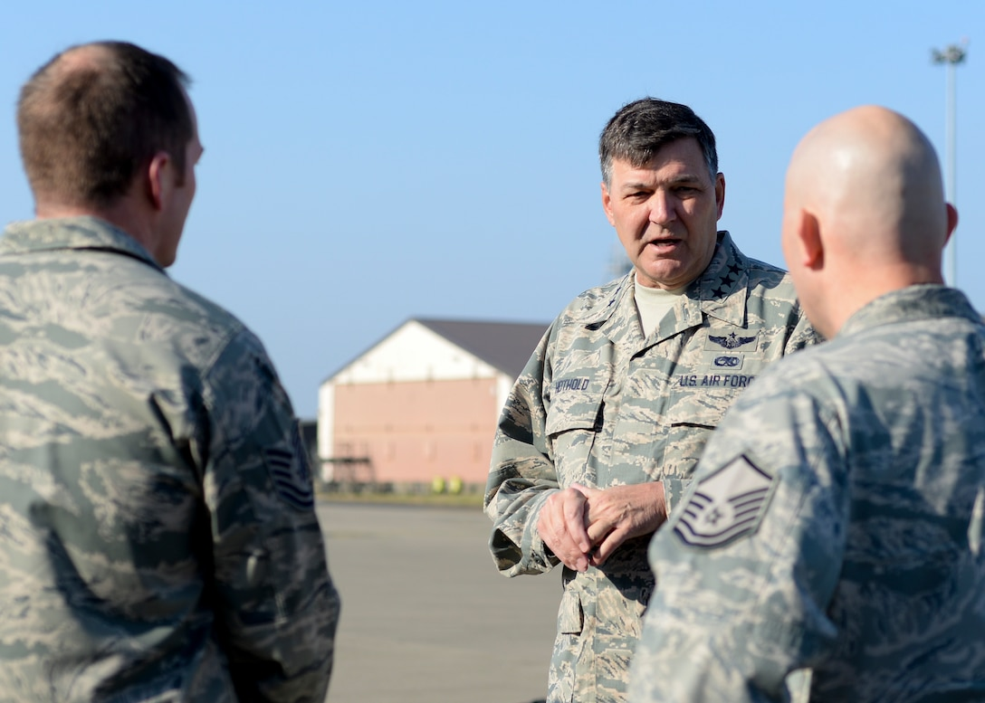 U.S. Air Force Lt. Gen. Brad A. Heithold, Air Force Special Operations Command commander, speaks to Airmen assigned to units within the 352nd Special Operations Wing during a tour March 23, 2015, on RAF Mildenhall, England. Heithold visited various units to discuss the AFSOC mission and its priorities before the official 352nd SOW activation ceremony.