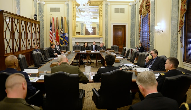 Air Force Vice Chief of Staff Gen. Larry O. Spencer (foreground, left) testifies during the Senate Armed Services Committee's hearing on current military readiness in Washington, D.C., March 25, 2015. Spencer stressed that a ready, strong and agile Air Force is a critical component of the best, most credible military in the world. (U.S. Air Force photo/Scott M. Ash)