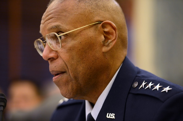 Air Force Vice Chief of Staff Gen. Larry O. Spencer testifies during the Senate Armed Services Committee's hearing on current military readiness in Washington, D.C., March 25, 2015. Spencer stressed that a ready, strong and agile Air Force is a critical component of the best, most credible military in the world. (U.S. Air Force photo/Scott M. Ash)