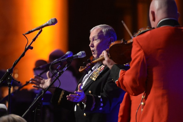 Army Gen. Martin E. Dempsey, chairman of the Joint Chiefs of Staff, sings a pair of Irish tunes during the 2015 Tragedy Assistance Program for Survivors gala at the National Building Museum in Washington, March 18, 2015.