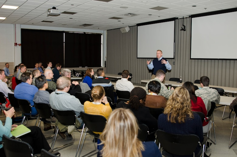 AFRL's Chief Technology Officer answers questions from the junior workforce during an open forum on March 23. The event allowed AFRL staff to gain insight on career development and mentorship from the experiences of one of the organization's senior leaders. (U.S. Air Force photo/Mikee Huber)