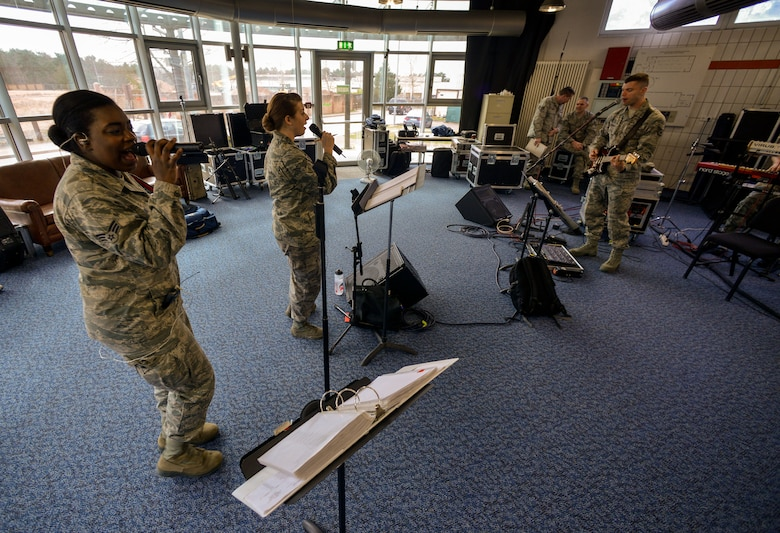 Musicians from the U.S. Air Forces in Europe Band Touch 'n Go rehearse at Ramstein Air Base, Germany, March 27, 2015. The band's responsibilities range from musical support at military functions to military and community entertainment with European neighbors. (U.S. Air Force photo/Senior Airman Nicole Sikorski)