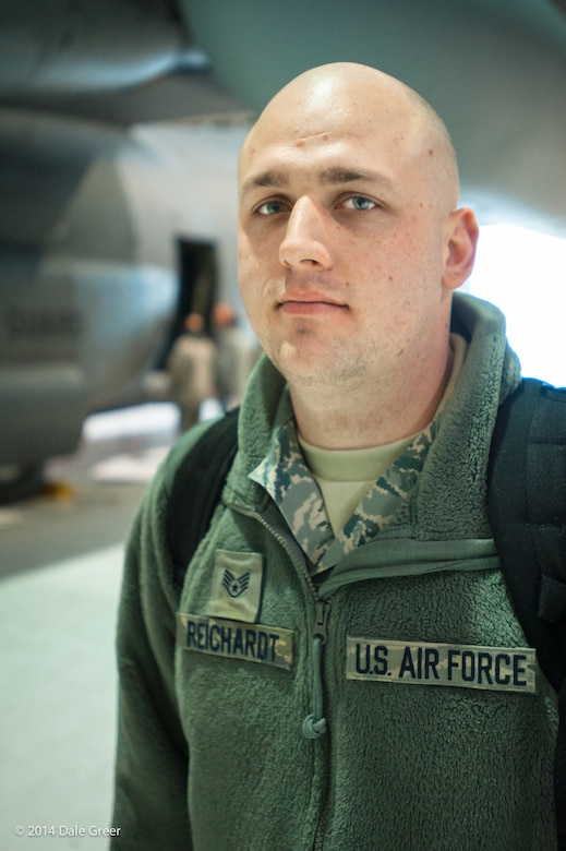 Staff Sgt. Brent Reichardt, an aircraft hydraulics specialist in the Kentucky Air National Guard's 123rd Maintenance Squadron, was awarded the Medal of Valor from the Jefferson County Sheriff's Office Feb. 20, 2015, for actions he took during a shooting incident at a Louisville, Ky., high school in 2014. Reichardt, who works full-time as a Jefferson County Sheriff's deputy, is currently deployed to the Persian Gulf in support of airlift operations across the U.S. Central Command Area of Responsibility. (U.S. Air National Guard photo by Maj. Dale Greer)