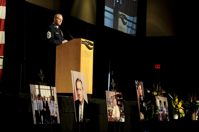 Chief Master Sgt. of the Air Force James A. Cody speaks during ninth Chief Master Sgt. of the Air Force James C. Binnicker's celebration of life ceremony at the Emerald Coast Convention Center, Fort Walton Beach, Fla., March 28, 2015. Binnicker spent 15 years as the CEO and president of the Air Force Enlisted Village in Shalimar, Fla., providing more than 400 residents a place to call home. (U.S. Air Force photo/Senior Airman Christopher Callaway)