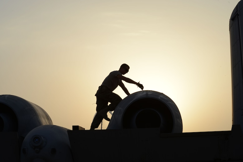 An Airman works on an A-10 Thunderbolt II from the 163rd Expeditionary Fighter Squadron after its arrival here in November. Since their arrival to the 332nd Air Expeditionary Group here, A-10s have expended nearly 50,000 rounds of ammunition and dropped approximately 500 bombs and maverick missiles in support of Operation INHERENT RESOLVE. (U.S. Air Force photo by Tech. Sgt. Jared Marquis)