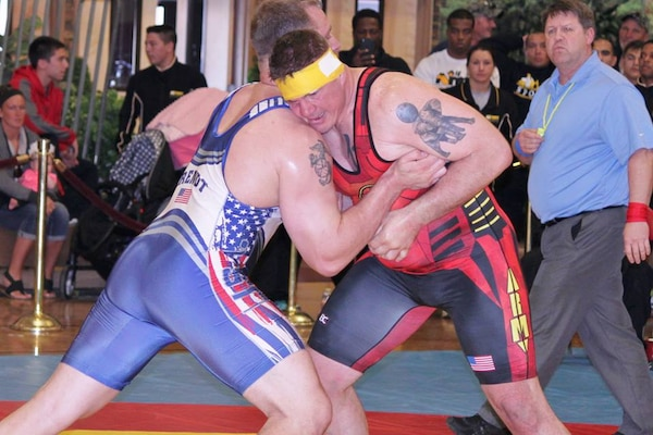 Marine Staff Sgt. David Arendt from Camp Lejeune, N.C. wins Armed Forces Greco Roman Gold in the 130 kg weight class.