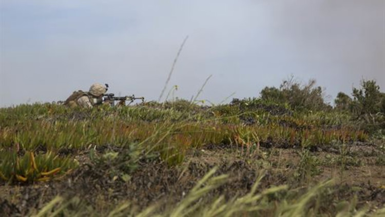 A U.S. Marine with Lima Company, Battalion Landing Team 3rd Battalion, 1st Marine Regiment, 15th Marine Expeditionary Unit, provides security during a raid on San Clemente Island, California, March 22, 2015. This raid was part of Composite Training Unit Exercise, preparing the Marines and sailors of the Essex Amphibious Ready Group and 15th MEU for their deployment.