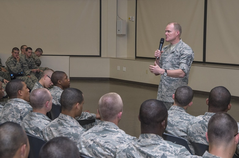Chief Master Sgt. of the Air Force James A. Cody addresses the first Capstone Week class March 26, 2015, at Joint Base San Antonio-Lackland, Texas. Capstone is a five-day program that closes Air Force Basic Military Training. During Capstone, the Air Force's newest Airmen learn about the importance of wingmanship, resiliency, leadership and followership, sexual assault prevention and response, the warrior ethos, and how Airmen can balance their personal and professional lives. Capstone Week's purpose is to further develop professional, resilient Airmen who are inspired by heritage, committed to its core values, and motivated to deliver airpower. While BMT will still provide new Airmen the same high level of military and physical training, Capstone Week serves to specifically concentrate on character building. (U.S. Air Force photo by Johnny Saldivar)