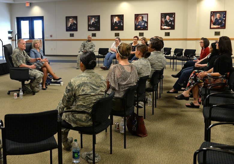 Chief Master Sgt. of the Air Force James A. Cody and his wife, retired Chief Master Sgt. Athena Cody speak with spouses of Air Force Military Training Instructors March 26, 2015 at Joint Base San Antonio-Lackland. The Codys met with the spouses to hear their input on the effect MTI Duty has on the family. (U.S. Air Force photo by Benjamin Faske)