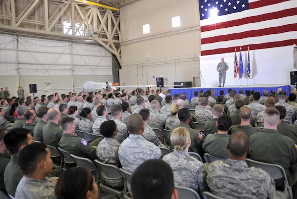 Chief of Staff of the Air Force Gen. Mark A. Welsh III conducts an all-call with the men and women of the 432nd Wing/432nd Air Expeditionary Wing March 24, 2015, at Creech Air Force Base, Nevada. During the all-call, Welsh thanked and highlighted the successes of the men and women of Creech AFB and the importance of the intelligence, surveillance and reconnaissance mission. (U.S. Air Force photo/Airman 1st Class Christian Clausen)