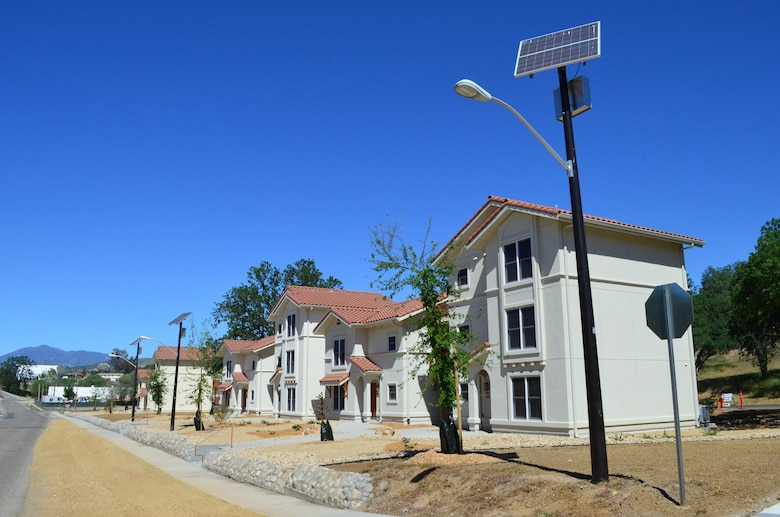 The U.S. Army Corps of Engineers Sacramento District completed a new housing complex at Fort Hunter Liggett in Monterey County, California, March 27, 2015. The new housing units are configured into three five-unit buildings, each designed to LEED-Silver energy efficiency standards to help the installation meet its net zero goals. One unit is designed for two soldiers with separate bathrooms and bedrooms. Construction began in November 2013 at a cost of about $4.5 million.