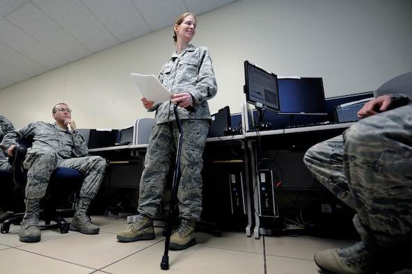 GOODFELLOW AIR FORCE BASE, Texas -- Master Sgt. Amy C. Dotson, 316th Training Squadron instructor, teaches her last Air Force intelligence class at the 316th Training Squadron March 9.  After 14 years as an Arabic linguist, Dotson is medically retiring from the Air Force. (U.S. Air Force photo/Tech. Sgt. Austin Knox)