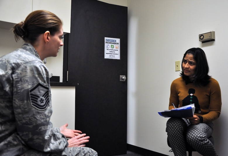 SAN ANGELO, Texas – Master Sgt. Amy C. Dotson, 316th Training Squadron instructor, talks with Dr. Archana N. Rao, West Texas Medical Associates neurologist, at the WTMA March 9. Dotson discussed her feelings and challenges about dealing with fibromyalgia and multiple sclerosis. (U.S. Air Force photo/ Senior Airman Joshua D. Edwards)