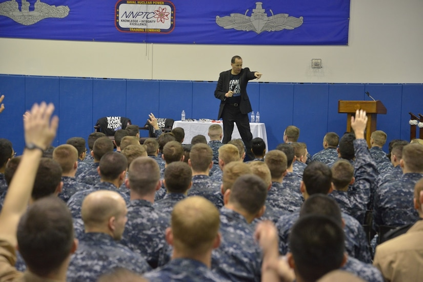 """Naval Nuclear Power Training Command staff and students attend the third annual presentation of """"Can I Kiss You?"""" in Goose Creek, SC on March 18, 2015. The audience was encouraged to actively participate in the event by asking questions and elaborating on the important fundamentals of consent and sexual responsibility. (US Navy Photo by Electrician's Mate Jett Supler)"""
