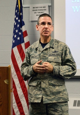 "Chief Master Sgt. Dennis Dipiazzo, 138th Fighter Wing communications chief, gives a speech to airmen attending a ""Rising 6"" organization meeting. The organization was recently reactivated by the senior non-commissioned officer's council to help junior enlisted airmen to have a voice on base, and establish rapport and morale with other guard personnel. (U.S. National Guard photo by Tech. Sgt. Jeffery Foster/Released)"