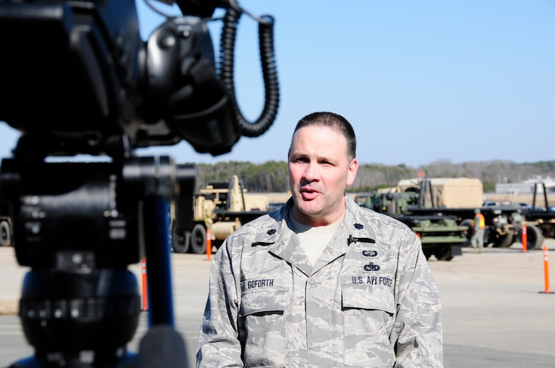U.S. Air Force Lt. Col. Gregory Goforth, deputy commander for 145th Mission Support Group, explains to local media that, for the first time, N.C. National Guard, Emergency Management and Forest Service personnel came together to train as true partners in order to respond effectively to natural disasters. Vigilant Guard 2015 exercise was held at 145th Civil Engineer Squadron-Regional Training Site, New London, N.C., March 6-8, 2015. (U.S. Air National Guard photo by Master Sgt. Patricia F. Moran, 145th Public Affairs/Released)