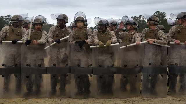 Marines with Golf Company and Echo Battery, 2nd Battalion, 6th Marine Regiment practice riot-control and non-lethal techniques aboard Marine Corps Base Camp Lejeune, N.C., March 27, 2015. The Marines conducted two weeks of non-lethal weapons training in preparation for an upcoming deployment.