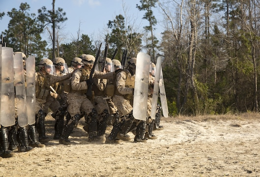 Marines with Golf Company and Echo Battery, 2nd Battalion, 6th Marine Regiment,  rush down the range during a non-lethal weapons live-fire exercise aboard Camp Lejeune, N.C., March 25, 2015.  The Marines participated in a two-week NLW course that teaches various riot-control methods.