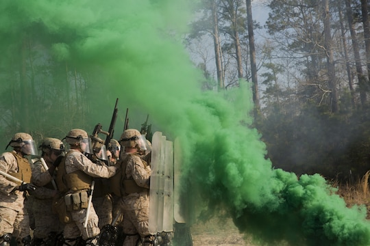 Smoke grenades thrown by course instructors envelop Marines with Golf Company and Echo Battery, 2nd Battalion, 6th Marine Regiment, in thick, green smoke during a non-lethal weapons training exercise aboard Camp Lejeune, N.C., March 25, 2015. The Marines participated in a two-week NLW course that teaches various riot-control methods.