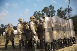 Infantrymen with Golf Company, 2nd Battalion, 6th Marine Regiment, and artillerymen with Echo Battery, 2/6, prepare to begin the live-fire portion of their non-lethal weapons training aboard Camp Lejeune, N.C., March 25, 2015. The Marines participated in a two-week NLW course that teaches various riot-control methods.