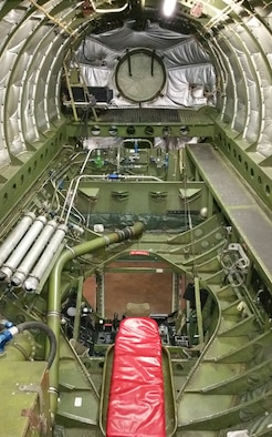 """DAYTON, Ohio -- Boeing KC-97L Stratofreighter """"flying boom"""" refueling system in the Cold War Gallery at the National Museum of the U.S. Air Force. (U.S. Air Force photo)"""