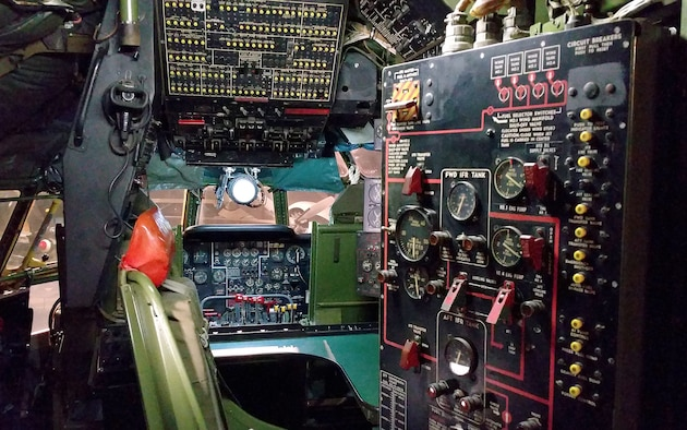 DAYTON, Ohio -- Boeing KC-97L Stratofreighter cockpit in the Cold War Gallery at the National Museum of the U.S. Air Force. (U.S. Air Force photo)