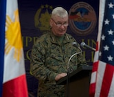 "U.S. Marine Lt. Gen. John A. Toolan, commander, U.S. Marine Corps Forces, Pacific and U.S. exercise director for Balikatan 2015, presents remarks at the closing ceremony at Clark Air Base, Philippines, April 30. Balikatan, which means ""shoulder-to-shoulder"" in Filipino, is an annual bilateral training exercise between Philippine and U.S. forces improving security cooperation activities, humanitarian assistance and disaster relief capabilities, and crisis response throughout the region."