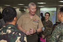 U.S. Marine Lt. Gen. John A. Toolan, Balikatan 2015 U.S. executive agent, speaks with members of the joint operation center about their roles and performance in the exercise at Camp Aguinaldo, Quezon City, Philippines, April 28. The exercise provides an opportunity for Philippine, Australian and U.S. forces to continue strengthening relationships and work together to enhance combined capabilities.