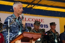 Royal Australian Air Force Flight Lt. Kevin O'Sullivan, chaplain, gives the invocation the during a ribbon cutting and turnover of school buildings ceremony at Santa Lordes High School in Puerto Princesa, on the island of Palawan, Philippines, April 29. The construction was part of humanitarian and civic action projects during exercise Balikatan 2015. This year marks the 31st iteration of the exercise, which is an annual Philippines-U.S. military bilateral training exercise and humanitarian civic assistance engagement.