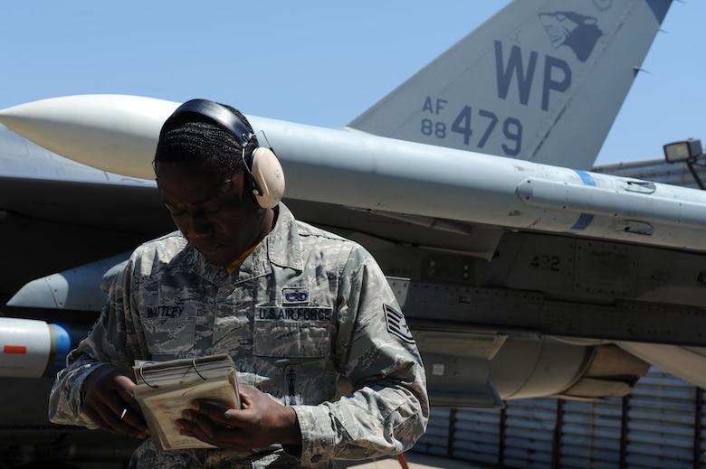 Staff Sgt. William Wattley, 80th Aircraft Maintenance Unit team chief, reviews a munitions
