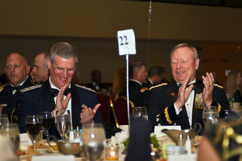 U.S. Air Force Maj. Gen. Mark E. Bartman (left), Ohio adjutant general, and U.S. Army Gen. Frank J. Grass (right), Chief of the National Guard Bureau, attended the Ohio National Guard Association and Ohio National Guard Enlisted Association Spring Dinner Dance, Columbus, Ohio, April 25, 2015. Gen. Grass was the guest speaker at the event which is held annually for association members in both the Air and Army National Guard. (U.S. National Guard photo by Senior Airman Wendy Kuhn/Released)
