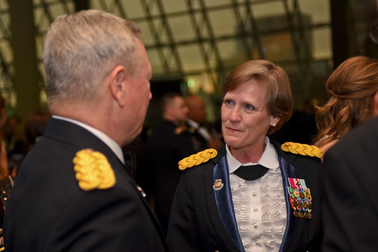 U.S. Army Gen. Frank J. Grass (left), Chief of the National Guard Bureau, speaks with Maj. Gen. Deborah Ashenhurst (right), special assistant to the vice chief, National Guard Bureau, prior to the Ohio National Guard Association and Ohio National Guard Enlisted Association Spring Dinner Dance, Columbus, Ohio, April 25, 2015. Gen. Grass was the guest speaker at the event which is held annually for association members in both the Air and Army National Guard. (U.S. National Guard photo by Senior Airman Wendy Kuhn/Released)
