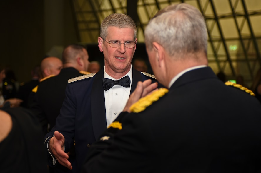 U.S. Air Force Maj. Gen. Mark E. Bartman (left), Ohio adjutant general, speaks with U.S. Army Gen. Frank J. Grass (right), Chief of the National Guard Bureau, prior to the Ohio National Guard Association and Ohio National Guard Enlisted Association Spring Dinner Dance, Columbus, Ohio, April 25, 2015. Gen. Grass was the guest speaker at the event which is held annually for association members in both the Air and Army National Guard. (U.S. National Guard photo by Senior Airman Wendy Kuhn/Released)