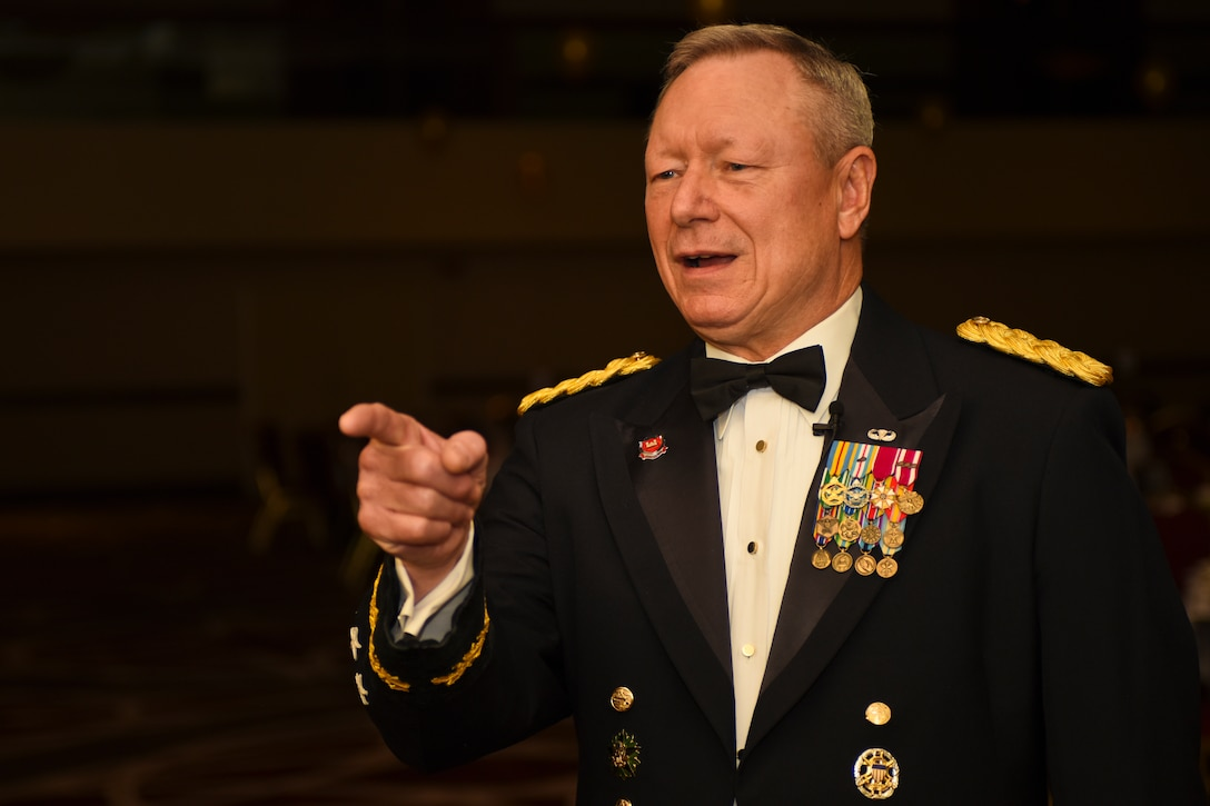 U.S. Army Gen. Frank J. Grass, Chief of the National Guard Bureau, gives an interview prior to the Ohio National Guard Association and Ohio National Guard Enlisted Association Spring Dinner Dance, Columbus, Ohio, April 25, 2015. Gen. Grass was the guest speaker at the event which is held annually for association members in both the Air and Army National Guard. (U.S. National Guard photo by Senior Airman Wendy Kuhn/Released)