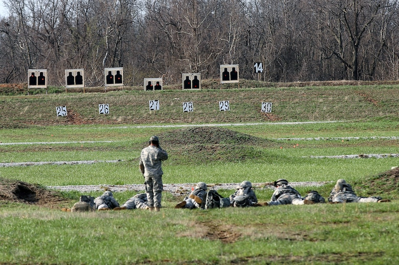 Soldiers and Airmen from the Missouri National Guard compete in the Adjutant General's Marksmanship Match in Camp Crowder, Mo., March 26 – 29. (Courtesy photo)