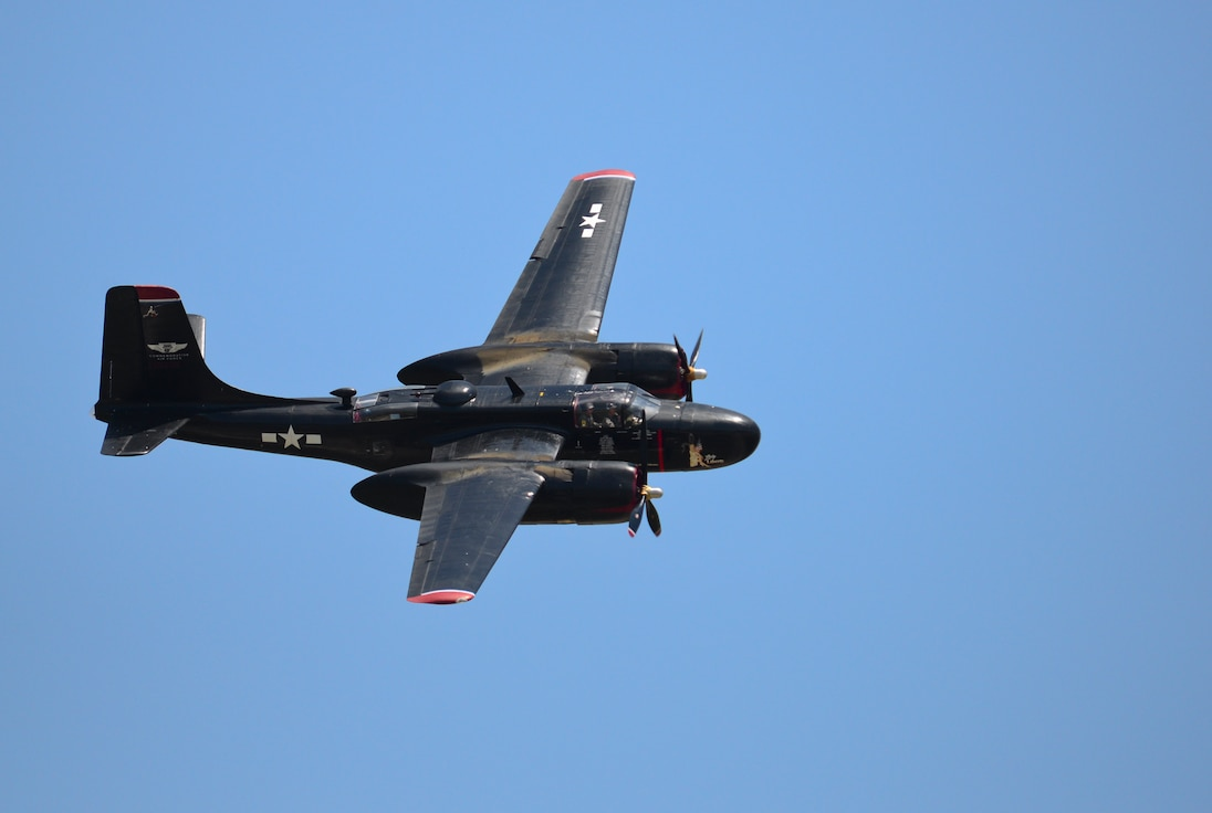 The A-26-B Invader, Lady Liberty, takes flight during the 2015 Defenders of Liberty Air Show at Barksdale Air Force Base, Louisiana, May 2. The last A-26 was retired from military service in 1972. (U.S. Air Force photo/Senior Airman Benjamin Raughton)
