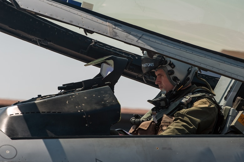 """U.S. Air Force Capt. Jacob """"Apollo"""" Allen, 35th Fighter Squadron F-16 Fighting Falcon pilot, prepares to take off during exercise Max Thunder 15-1 at Gwangju Air Base, Republic of Korea, April 21, 2015. Max Thunder is a large-scale employment exercise designed to increase interoperability between U.S. and ROK forces, and ultimately enhance commitments to maintain peace in the region. (U.S. Air Force photo by Senior Airman Taylor Curry/Released)"""