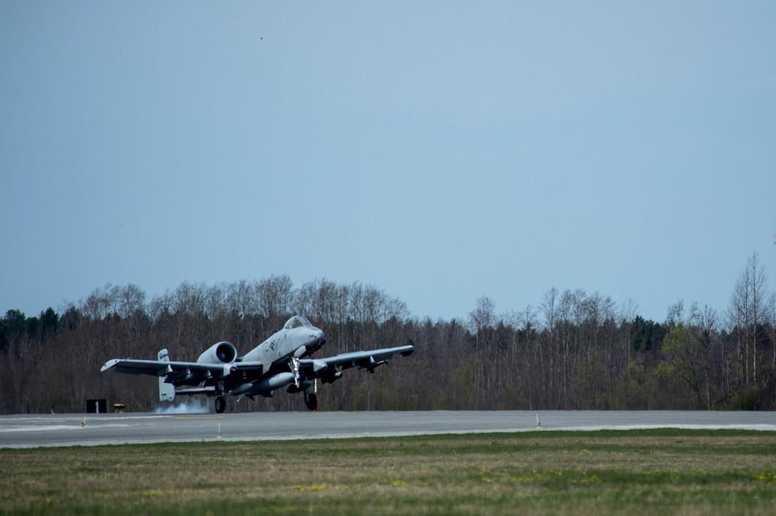 An A-10 Thunderbolt II attack aircraft lands on the runway May 1, 2015, at Ämari Air Base, Estonia. The U.S. and Estonian air forces will conduct training aimed to strengthen interoperability and demonstrate the countries' shared commitment to the security and stability of Europe.  (U.S. Air Force photo by Senior Airman Rusty Frank/Released)
