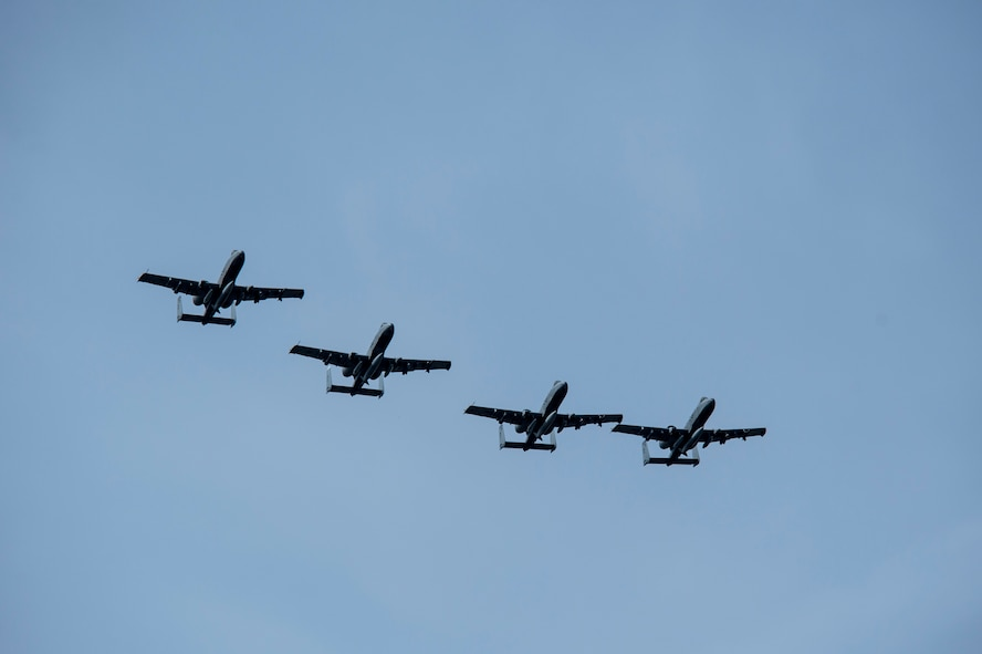 Four A-10 Thunderbolt II attack aircraft fly over Ämari Air Base, Estonia, May 1, 2015. The U.S. is committed to acting collectively with NATO allies and the international community to address security challenges in Europe and around the world. (U.S. Air Force photo by Senior Airman Rusty Frank/Released)