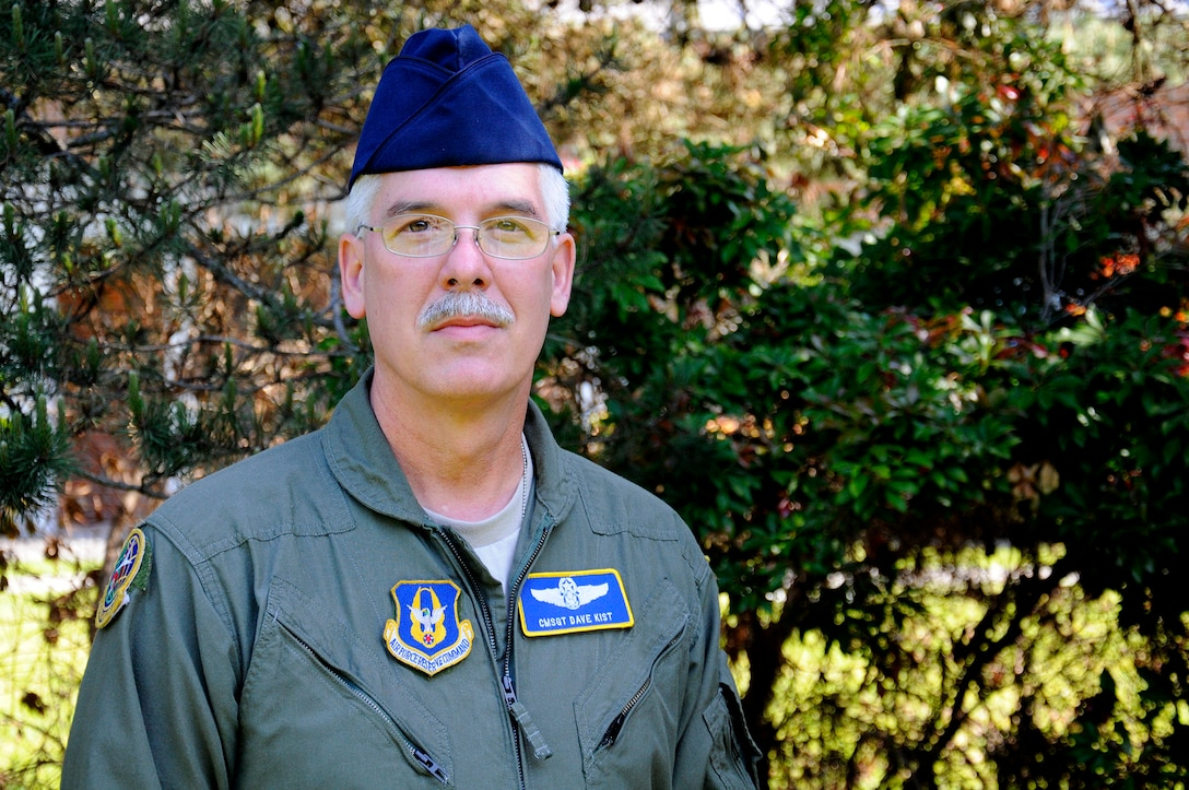 Chief Master Sgt. Dave Kist, 313th Airlift Squadron air reserve technician and chief loadmaster, was promoted May 1, 2015 in his 38th year with the 446th Airlift Wing. Kist has served as a traditional Reservist since his senior year of high school and became an ART in 2006 after retiring from a 25-year career as a Washington state trooper. (U.S. Air Force Reserve photo by Senior Airman Madelyn McCullough)