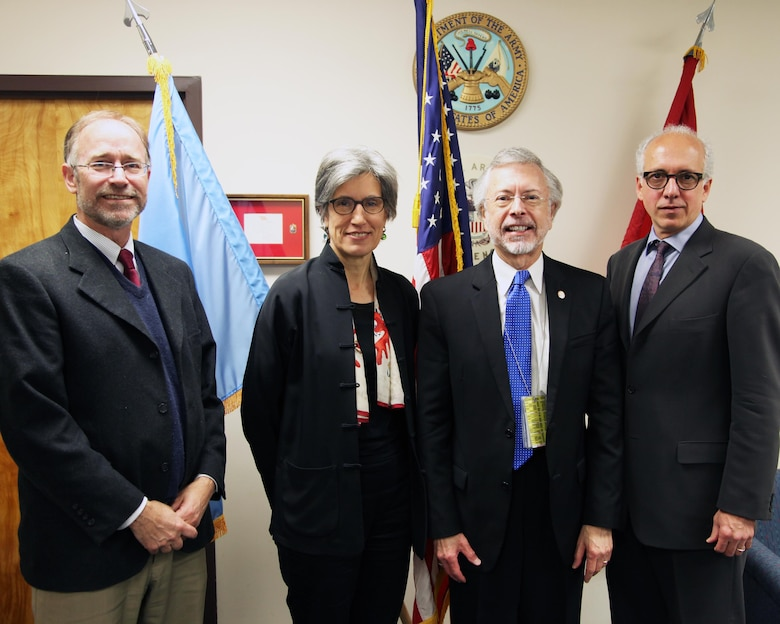 (l-r) ICIWaRM Deputy Director Dr. Will Logan; Dr. Flavia Schlegel, UNESCO Assistant Director-General for Natural Sciences, IWR and ICIWaRM Director Bob Pietrowsky, and George Papagiannis, head of UNESCO's External Relations and Information Liaison Office in New York; during Dr. Schlegel's visit to IWR's ICIWaRM on April 27, 2015.