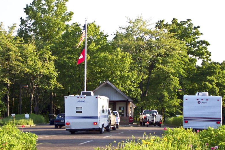 Camper check in a the campground at Berlin Lake.