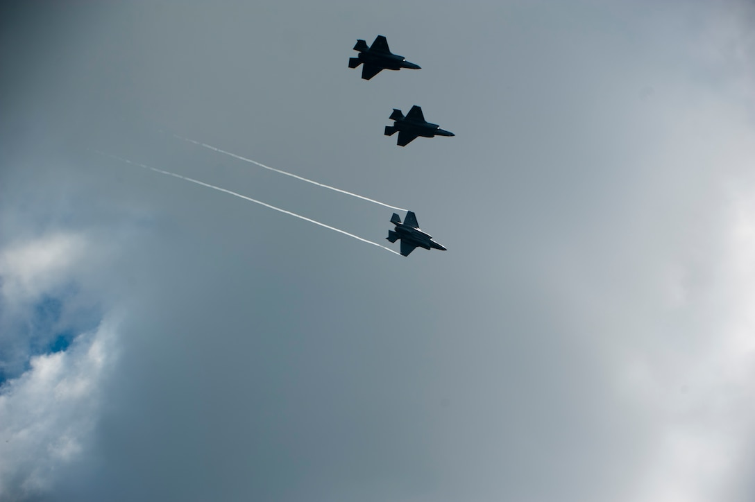 Four F-35A Lightning IIs prepare to land after a training mission over Eglin Air Force Base, Fla., April 23, 2015. Royal Australian Air Force Squadron Leader Andrew Jackson made history as the first Australian pilot to fly in the F-35A. The fifth-generation aircraft will meet Australia's future air combat and strike needs, providing a networked force-multiplier effect in terms of situational awareness and combat effectiveness. (U.S. Air Force photo/Staff Sgt. Marleah Robertson)