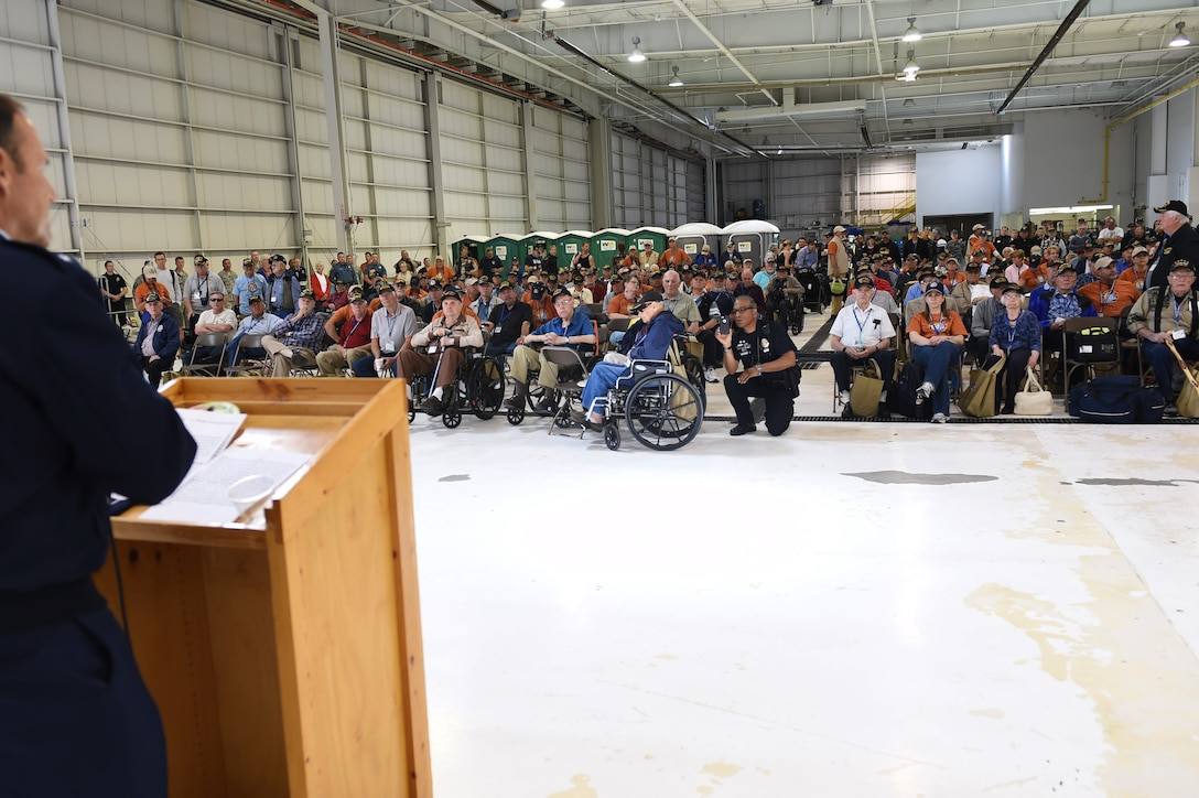 Maj. Gen. Trulan Eyre, 1st Air Force Air National Guard assistant to the commander, speaks to more than 75 World War II, Vietnam, Korea, terminally ill and Purple Heart recipient veterans before they board a plane May 3, 2015, at Denver International Airport in Denver. Hosted by the Honor Flight of Northern Colorado, the overnight trip to Washington D.C. gave veterans the chance to visit military memorials. The trip is offered every year free of charge for the vets through donations from the public. (U.S. Air Force photo Airman 1st Class Samantha Meadors/Released)