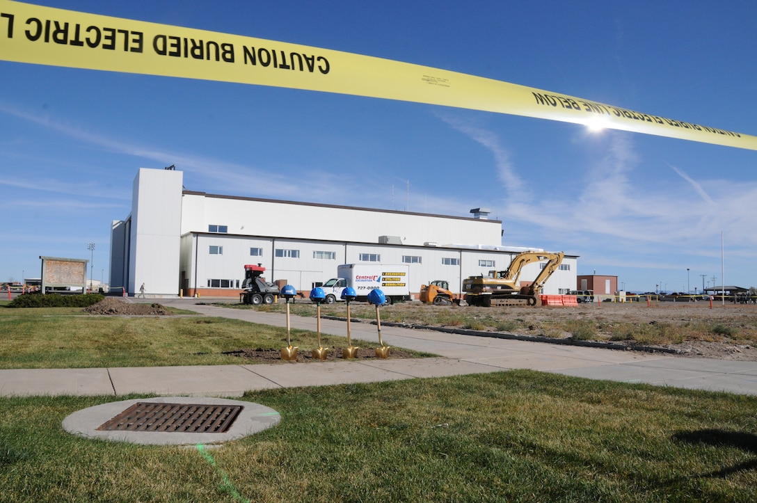 Shovels sit where ground was broken for a C-130 consolidated maintenance hangar construction site at the 120th Airlift Wing, Montana Air National Guard, Great Falls, Mont. Oct. 17.  Construction of the hangar is expected to take one year. (Montana Air National Guard photo/Maj. Cody Smith)